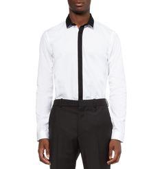 Burberry ProrsumWhite Slim-Fit Contrast-Trim Cotton Shirt MR PORTER