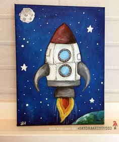 New to SandraArtStudio on Etsy: Painting of a rocket and the moon and stars painting size 7 x 9 inch (40.00 EUR)