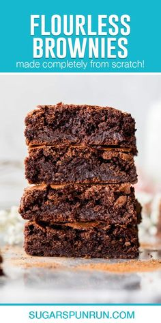 A simple recipe for homemade Flourless Brownies. This recipe yields chocolatey, fudgy, rich brownies with crackly tops. Lemon Brownies, Oreo Brownies, Brownie Recipes, Cookie Recipes, Dessert Recipes, Easy Desserts, Delicious Desserts, Flourless Peanut Butter Cookies, Flourless Brownie