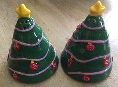 Christmas Trees Ceramic Salt & Pepper Shakers EUC    eBay
