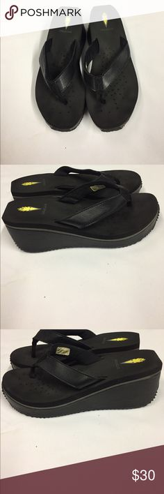 Black Volatile Wedge Flip Flops. Black Thong Toe Platform Style. Only worn a couple times. Volatile Shoes