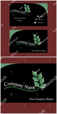 #vector #illustration Black #business #card with abstract #leaf #logo design