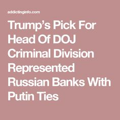 Trump's Pick For Head Of DOJ Criminal Division Represented Russian Banks With Putin Ties