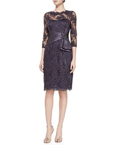 T8YN3 Rickie Freeman for Teri Jon 3/4-Sleeve Lace Cocktail Dress, Amethyst