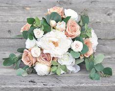 Wedding Bouquet, Flowers, Blush Rose, Peach Rose, Eucalyptus, Ivory Peony Faux Flower Keepsake Bouquet.