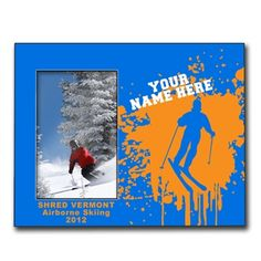 Personalized Skiing Wood Frame with Skiing Silhouette - Our 8in X 10in wood frame features a 4in X 6in opening to fit your photo and a customized area for your text.