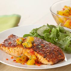 Orange salsa made with mandarin oranges, red bell peppers and fresh cilantro is the perfect pairing for sweet and smoky salmon.