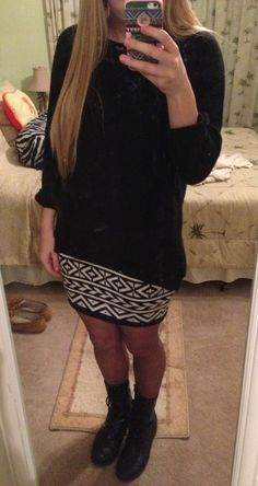 Love this outfit #black #sweater #outfit #tribal #skirt #blackstockings #combat #boots #winteroutfit