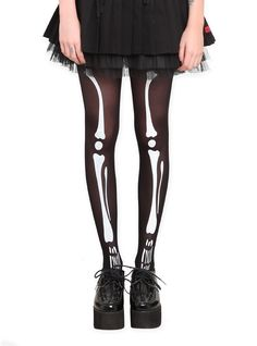 Sheer black tights with a white skeleton print.