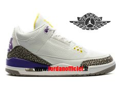 reputable site 66024 9dd18 Air Jordan 3 Retro - Chaussures Baskets Offciel Pas Cher Pour Homme Blanc  Pourpre Jaune-