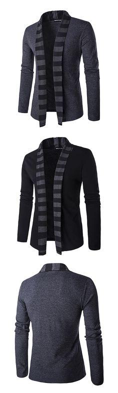 US$20.77 (49% OFF) Mens Fall Winter Fashion Knitting Cardigans Warm Turndown Collar Casual Outwear