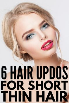 Quick & Elegant: 23 Step-by-Step Updos for Thin Hair - Quick & Elegant: 23 Step-by-Step Updos for Thin Hair 6 Updos for Short Thin Hair Medium Thin Hair, Medium Hair Styles, Curly Hair Styles, Short Hair Wedding Styles, Wedding Hair For Short Hair, Easy Updo Hairstyles, Prom Hairstyles For Short Hair, Wedding Hairstyles, Short Fine Hair Updo