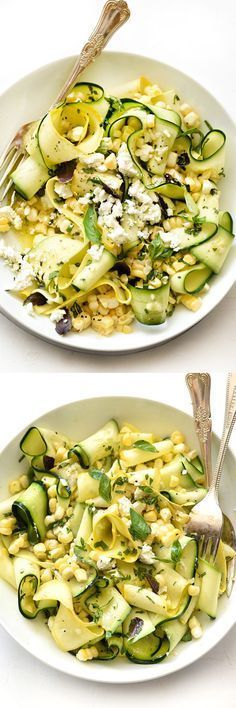 Raw zucchini and corn make this no-cook salad ready in just 5 minutes and so, so good | foodiecrush.com (Apple Recipes Salad)