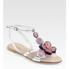 Miu Miu Glitter Jeweled Flower & Metallic Leather Sandals ($595) ❤ liked on Polyvore