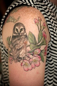 mom's birds and flowers, daughter's owl!  By Alice…