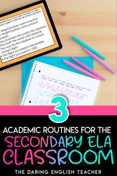 Prepare your middle school ELA and high school English students for success by implementing these three academic routines in the classroom. From teaching writing to sentence combining lessons to academic vocabulary, these ELA academic routines will help your students succeed. High school English lessons   Middle School ELA Lesson   ELA Activities   Teaching Middle School ELA   Teaching High School English Vocabulary Instruction, Academic Vocabulary, Teaching Vocabulary, Teaching Writing, Teaching Strategies, Classroom Routines, Middle School Ela, High School English, Writing Lessons