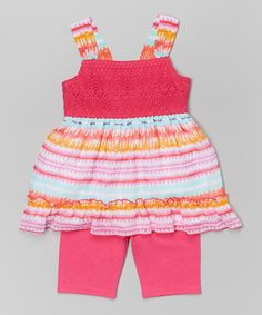This Pink Eyelet Ruffle Dress & Leggings - Toddler & Girls by Youngland is perfect! #zulilyfinds