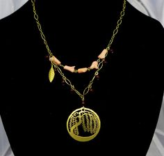 Signed Wild Bryde Necklace DAVID AUBREY Willow Tree Gold Plated Natural Stones #WildBryde #Chain
