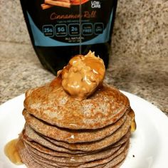 Nom nom Cinnamon Protein Pancakes with a dollop of Almond Butter!! Delicious!! This recipe literally takes 5 minutes to make and fits your nutrition perfect! Click the image and check it out!