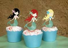 Mermaid Party Cupcake Toppers