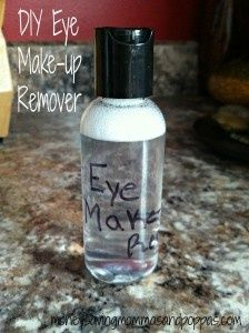 DIY Eye Makeup Remover! SO EASY!  1 cup water  1 1/2 tablespoons Tear Free Baby shampoo  1/8 teaspoon Baby Oil (OR Oil Of Your Choice)  Mix it all together, well. Pour into container of you choice!  How easy is that