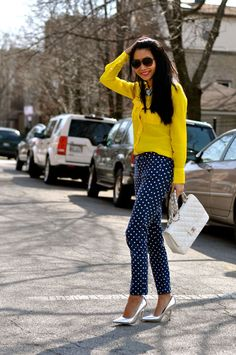 yellow shirt, polka dot denim, metallic heels and chanel bag