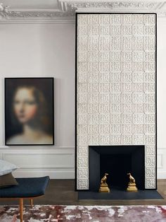 Tiled fireplace wall - STUDIO KO: Some Pitch Perfect Moments in Design from Paris Tiled Fireplace Wall, Fireplace Design, Modern Fireplace, Fireplace Facade, Classic Fireplace, Fireplace Redo, Interior Architecture, Interior And Exterior, Modern Exterior