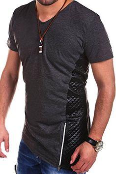 MT Styles Longline V-Neck T-Shirt Polo BH-010 [Dunkelgrau, M]