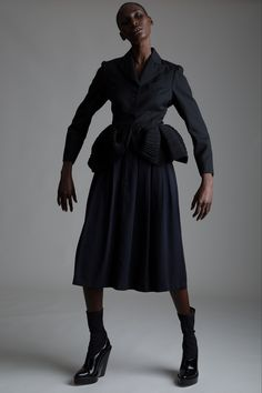 Vintage Romeo Gigli Peplum Jacket and Comme des Garçons Skirt. Designer Clothing Dark Minimal Street Style Fashion