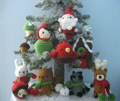 Christmas Ornament Woodland Animals Amigurumi Crochet Pattern Set
