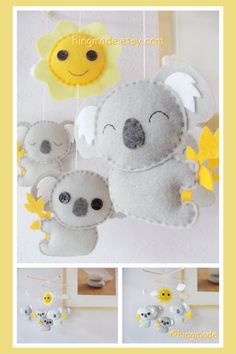 Baby Crib Mobile - Koala Mobile - Nursery Felt Mobile - Modern Cute Mobile - Australian Gray Koalas and Sun (Custom color available) Baby Crafts, Felt Crafts, Felt Mobile, Sheep Mobile, Cloud Mobile, Baby Crib Mobile, Baby Kind, Felt Diy, Felt Ornaments