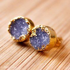 Violet Blue Druzy Studs Druzy Earrings Round Posts by OhKuol