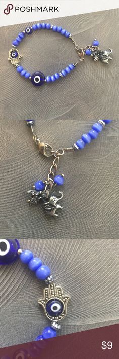 Blue Evil Eye/Hamsa/Elephant Charm Bracelet! NWOT Handmade in Greece Blue Stone Charm Bracelet! Features Evil Eye and Hamsa to protect you from evil, and elephant which represents wisdom to remove obstacles. NEVER WORN! Brandy Melville Jewelry Bracelets
