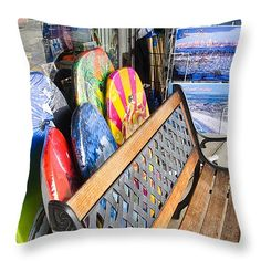 """Coronado Boogie Boards 14"""" x 14"""" Throw Pillow by Sharon French.  Our throw pillows are made from 100% cotton fabric and add a stylish statement to any room.  Pillows are available in sizes from 14"""" x 14"""" up to 26"""" x 26"""".  Each pillow is printed on both sides (same image) and includes a concealed zipper and removable insert (if selected) for easy cleaning."""