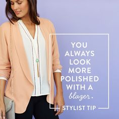 """stitchfix: """"The most versatile & sophisticated layer—the blazer—is fab for every season. #Obsessed with the pastel peach shade of this boyfriend blazer for spring over a cream top. #StylistTip"""""""