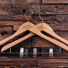 Bridesmaid Gift - Keepsake Hanger with Clips – Natural Wood