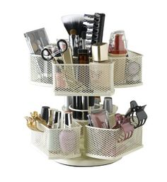 Current price: $21.23  Great for cosmetics, art supplies, crayons, kitchen gadgets and more. Nifty Cosmetic Organizing Carousel, Cream - Click for more ideas.  http://www.organizediy.com   #cosmetics, #supplies, #artsupplies