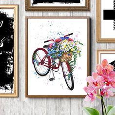 Bicycle art Bicycle with flowers Floral bicycle Fashion