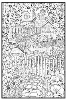 Cottage > Lots more coloring pages at: http://inspireddutchmom.com/van-vrouw-tot-vrouw/kleurplaten-voor-volwassenen/: