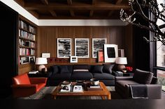 CONTEMPORARY CLASSIC: A Wood Paneled Man Nest | Paneling and cabinetry by New York Cutsom Interior Millwork Corp