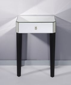 """Gently Small Mirror Collection: Homka Night table with a mirror top and a drawer in the mirror front panel. The whole is assembled with 4 black lacquered MDF legs. This article is supplied """"flat pack"""" or """"knockd. Mirror Bedside Table, Wood Mirror, Consoles, Petite Console, Console Design, Night Table, Mirrored Furniture, Small Mirrors, Trendy Tree"""