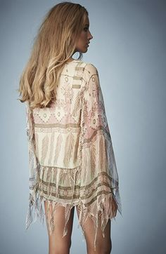 Kate Moss for Topshop Tassel Feather Print Blouse | Nordstrom