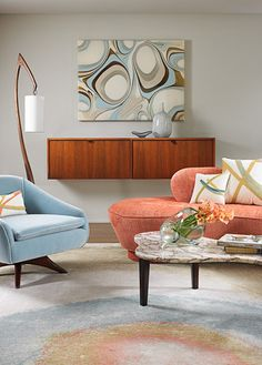Mid Century styled Living Room | Pink and Blue