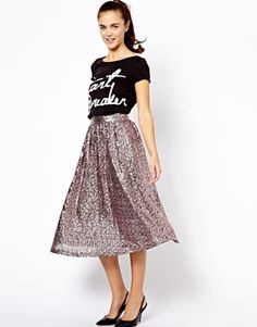 River Island Sequin Dirndle Skirt-Made from a woven poly fabric, Heavily embellished sequin design, Fitted, high-rise waist, Soft pleat detail, Zip back fastening