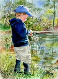 BOY FISH Children Play 11x15 Giclee Watercolor Art Print by Judith Stein