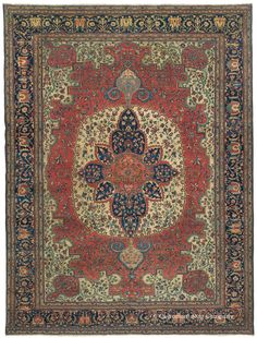 Ferahan Sarouk, 8ft 9in x 11ft 8in,  Circa 1850. This room-size Ferahan Sarouk is world-class quality antique carpet of exceptional artistic magnitude and in superb condition at over 150 years of age. This masterpiece antique rug combines tremendous creativity of design with consummate craftsmanship. Its entirely original medallion and dazzlingly hued rare blue pendants reveal the hand of deeply inspired master weavers, producing a compelling aesthetic effect that is virtually never equaled.