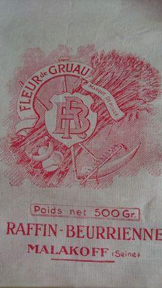 GORGEOUS PETITE ANTIQUE FRENCH PURE LINEN FLOUR BAG FARINE FLEUR DE GRUAU c1910