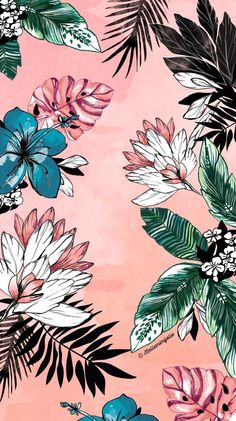 By Artist Unknown. iPhone X Wallpaper 297096906663551855 Tumblr Wallpaper, Screen Wallpaper, Cool Wallpaper, Tropical Wallpaper, Floral Wallpaper Phone, Teal Flower Wallpaper, Wallpaper For Laptop, Pattern Wallpaper Iphone, Iphone Wallpaper Vintage Retro