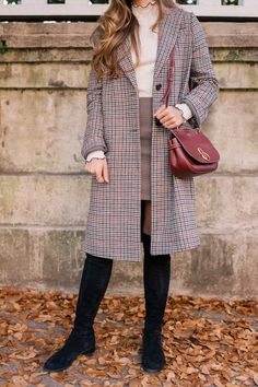 """Gal Meets Glam The Boots I Wear All Fall & Winter -Topshop Coat, Madewell Turtleneck, Sandro Skirt, Stuart Weitzman Boots, Mulberry Bag, Bobbie Brown Lipstick in """"Imperial Red"""", #sponsored"""