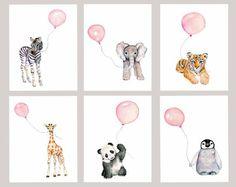 Girl's Nursery art, Set of 6, Pastel Pink nursery, nursery print set, baby girl nursery art, zoo animal decor, baby room prints, watercolor